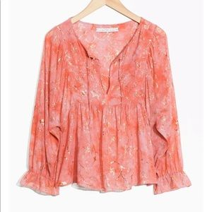 TOMS & other Stories, 100% Silk, Peach Blouse Gold Embossed Details, Size 2 NWT